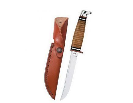 "Case Utility Hunter Fixed Blade Knife w/ Knob Cap Leather Sheath, 5"" - 00381"
