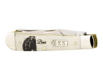 Case Sportsman Series Embellished Smooth Natural Bone Trapper Bear Folder Knife - 50439