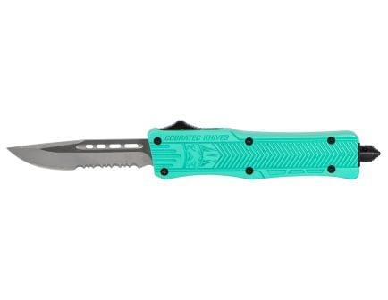 """CobraTec Small CTK-1 2.75"""" Drop Point OTF Knife, Serrated Edge, Tiffany Blue - STFCTK1SDS"""