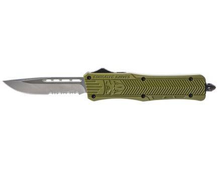 "CobraTec Knives Medium CTK-1 3"" Drop Point OTF Knife, Serrated Edge, Olive Drab Green - MODCTK1MDS"