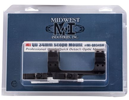 "Midwest Industries 0.85"" 6061 Aluminum Quick Detach Scope Mount w/ 1.4"" Offset, Hardcoat Anodized Black - MI-QD34SM"