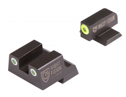 Night Fision Night Sight Set for Canik TP9SFx Handguns, Green with Yellow Square Front, Green with White Square Rear - CNK-026-003-YGWG
