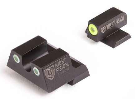 Night Fision Night Sight Set for Canik TP9SF ELITE Handguns, Green with Yellow Square Front, Green with White U-Notch Rear - CNK-027-007-YGWG