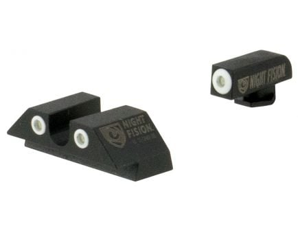 Night Fision Night Sight Set for Glock 17/17L/19/22-28/31-35/37-39 Pistols, Green with White Square Front, Green with White U-Notch Rear - GLK-001-007-WGWG