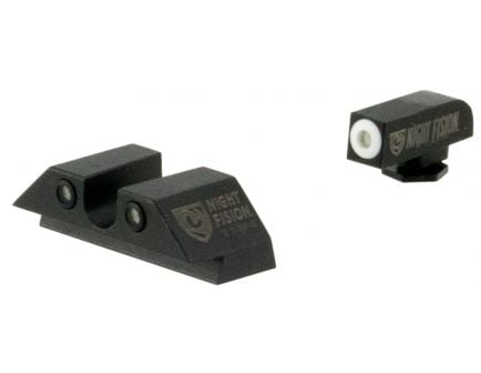 Night Fision Night Sight Set for Glock 17/17L/19/22-28/31-35/37-39 Pistols, Green with White Square Front, Green with Black U-Notch Rear - GLK-001-007-WGZG
