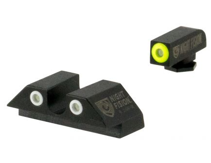 Night Fision Night Sight Set for Glock 20/21/29/30/31/32/36/40/41 Pistols, Green with Yellow Square Front, Green with White U-Notch Rear - GLK-002-007-YGWG
