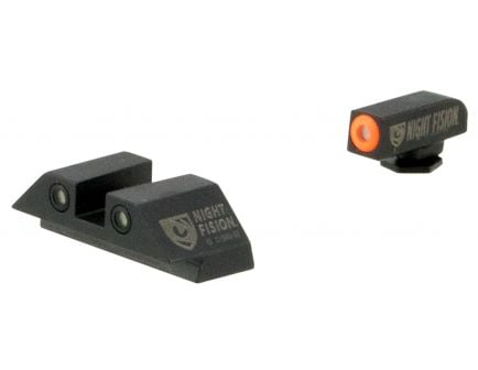 Night Fision Night Sight Set for Glock 42, 43 Pistols, Green with Orange Square Front, Green with White Square Rear - GLK-003-003-OGWG