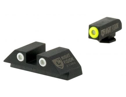 Night Fision Night Sight Set for Glock 42, 43 Pistols, Green with Yellow Square Front, Green with White Square Rear - GLK-003-003-YGWG