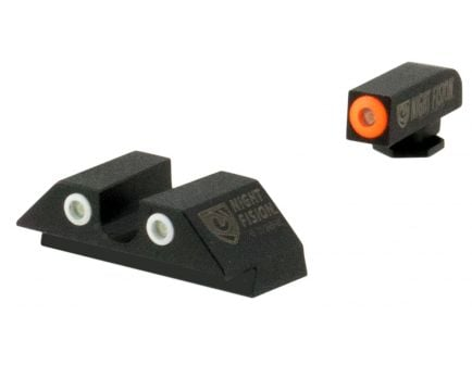Night Fision Night Sight Set for Glock 42, 43 Pistols, Green with Orange Square Front, Green with Black U-Notch Rear - GLK-003-007-OGZG