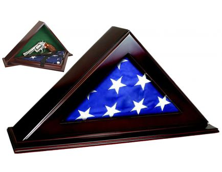 PS Products Peace Keeper Patriot Flag Case w/ Concealment Personal Vault, Mahogany - PFC