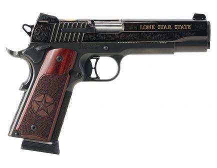 Sig Sauer 1911 Texas Engraved Gold .45 ACP Pistol, Hardcoat Anodized Black - 191145TXG