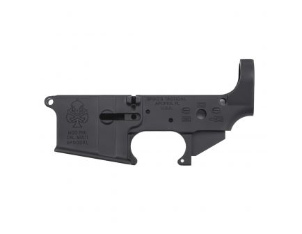 Spikes Tactical Multi-Caliber PHU Spade Logo Stripped Lower Receiver, Hardcoat Anodized Black - STLS029