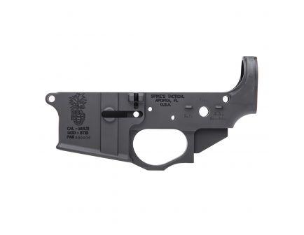 Spikes Tactical Multi-Caliber Pineapple Grenade Logo Lower Receiver, Hardcoat Anodized Black - STLS032