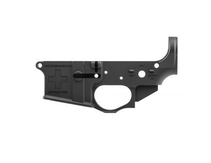 Spikes Tactical Multi-Caliber Waterboarding Instructor Logo Lower Receiver, Hardcoat Anodized Black - STLS033