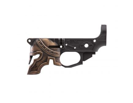 Spikes Tactical Rare Breed Painted Spartan Helmet Stripped Lower Receiver, Hardcoat Anodized Black - STLB610-PH