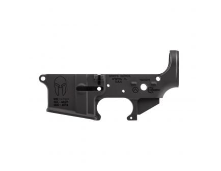 Spikes Tactical Multi-Caliber Spartan Logo Stripped Lower Receiver, Hardcoat Anodized Black - STLS021