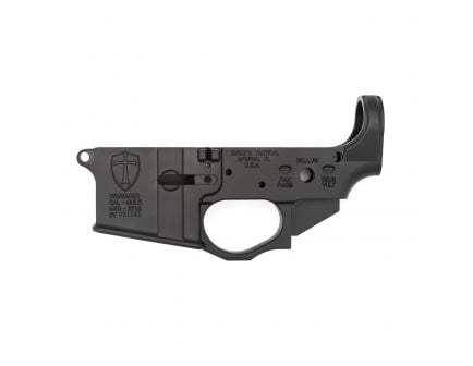 Spikes Tactical Multi-Caliber Crusader Logo Stripped Lower Receiver, Hardcoat Anodized Black - STLS022