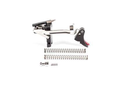 ZevTech Fulcrum Adjustable Curved Trigger Drop-in Kit for Glock 17, 17C, 17L Gen 1-3 Pistols, Black/Red - FUL-ADJ-DRP-9-B-R