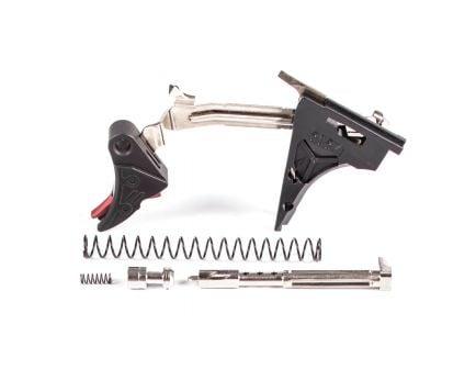 ZevTech Pro Curved Face Drop-in Trigger Ultimate Kit for Glock 17, 19, 26, 34 Gen 4 Pistols, Black/Red - CFT-PRO-ULT-4G9-B-R