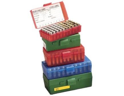 MTM Case Gard P-50 9mm/.30/.32 S&W/.380 ACP/9mm Makarov 50 Round Flip-Top Ammo Box, Green - P509M10