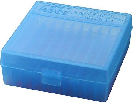 "MTM Case Gard P-100 100 Round Flip-Top Ammo Box, 1.88"" OAL, Clear Blue - P1004424"