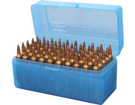 MTM Case Gard R-50 50 Round Large Ammo Box, Clear Blue - RLLD5024