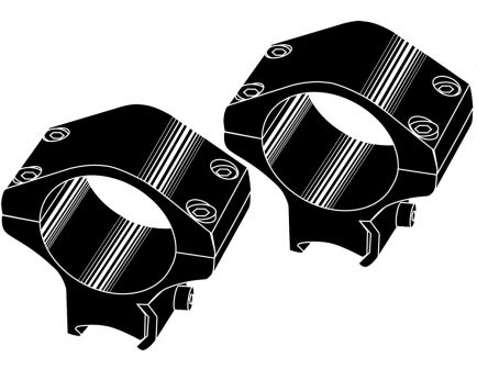 "Kwik-Site .22 Cal 1"" Steel Non See-Thru Grooved 2-Piece Receiver Mount, Black - KSNT022"