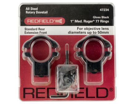 "Redfield Ruger 77 1"" Medium Steel 2-Piece Scope Ring, Gloss Black - 47234"