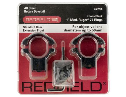 "Redfield Ruger 77 1"" High Steel 2-Piece Scope Ring, Gloss Black - 47237"
