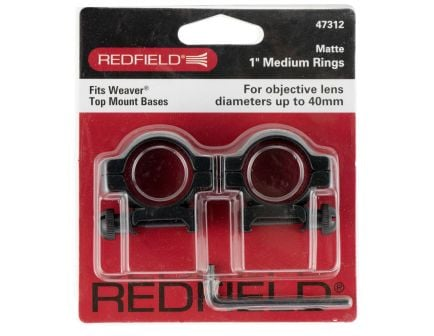 "Redfield 1"" Medium Aluminum 2-Piece Top Mount Scope Ring, Matte Black - 47312"