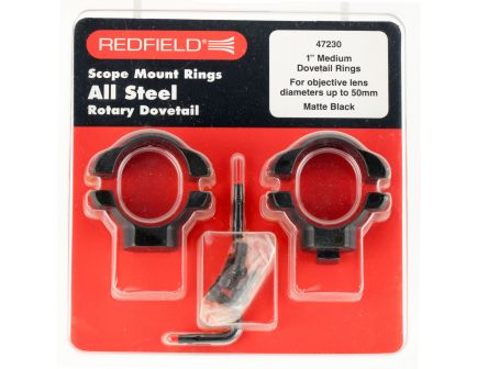"Redfield 1"" Medium Aluminum 2-Piece Scope Ring, Matte Black - 47320"