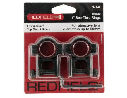 "Redfield 1"" Medium Aluminum See-Thru 2-Piece Scope Ring, Matte Black - 47325"