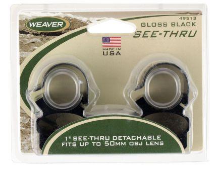 "Weaver 1"" Aluminum 2-Piece See-Thru Detachable Scope Ring, Black - 49513"