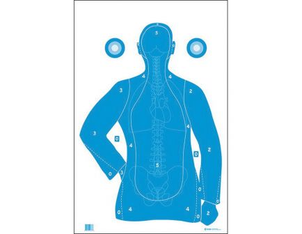 "Action Target Law Enforcement 23"" x 35"" Silhouette B-21E Qualification Target w/ Vital Anatomy, White/Blue, 100/box - F-B21EANT-AV2-100"