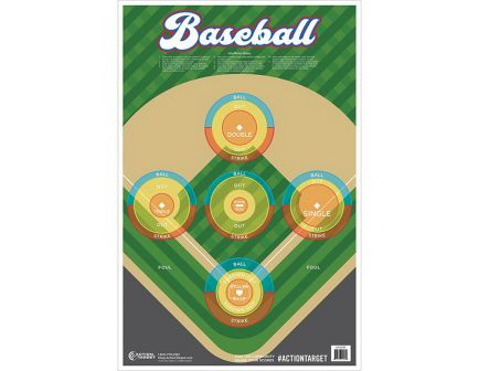 "Action Target 23"" x 35"" Baseball Target, Multi-Color, 100/box - GS-BASE-100FIRE1100"