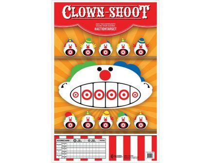 "Action Target 23"" x 35"" Clown-Shoot Target, Multi-Color, 100/box - GS-CARCLWN-100"