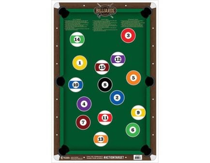 "Action Target 23"" x 35"" Billiards Target, Multi-Color, 100/box - GS-POOL-100"
