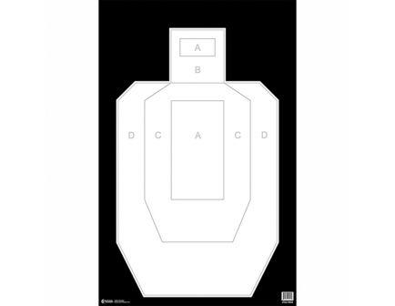 "Action Target Law Enforcement 23"" x 35"" Silhouette High Visibility IPSC/USPSA Target, Black Background, White Target, 100/box - IPSC-PBKB-100"