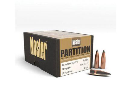 Nosler Partition .25 100 gr FBSPT Rifle Bullet, 50/box - 16317