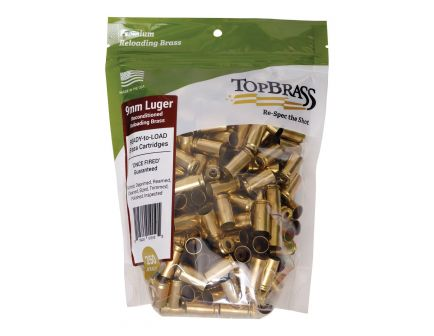 Top Brass Premium Reconditioned 9mm Unprimed Brass Full Length Cartridge Case, 250/pack - 6B9MMLUGXY-250