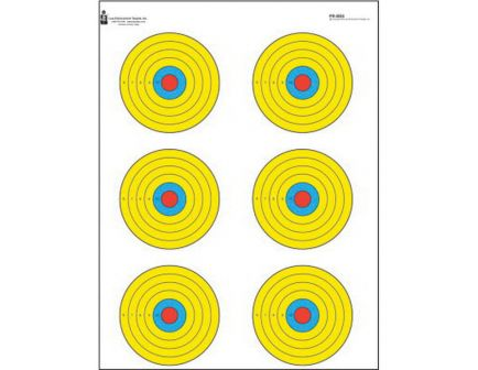 """Action Target Law Enforcement 17.5"""" x 23"""" High Visibility Fluorescent Bullseye Target, Black/Blue/Red/Yellow, 100/box - PR-BE6-100"""