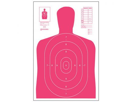 """Action Target Law Enforcement 23"""" x 35"""" Silhouette B-27E High Visibility Target, Fluorescent Red, 100/box - B-27E-RED-100"""