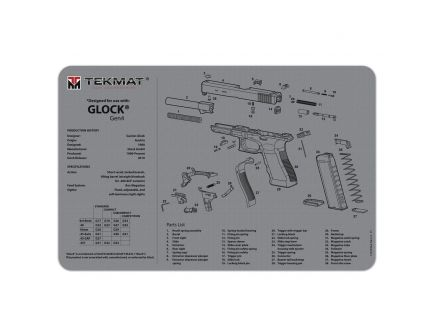 "TekMat Glock Gen4 Cleaning Mat, 11"" W x 17"" H x 0.125"" T, Gray - R17GLOCKG4GY"