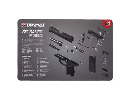 "TekMat Sig Sauer P365 Cleaning Mat, 11"" W x 17"" H x 0.125"" T, Black/Gray/White - R17SIG9365"