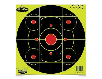 "Birchwood Casey Dirty Bird 12"" Bullseye Target, Black/Yellow/Red, 25/pack - 35925"