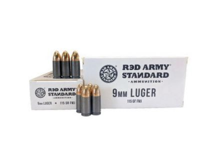 Century Arms Red Army Standard 115 gr FMJ 9mm Leaded Ammo, 50/box - AM3091