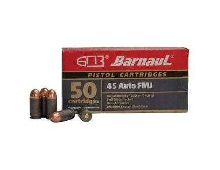 Barnaul Ammunition 230 gr FMJ .45 ACP Ammo, 50/box - BRN45AUTOFMJ230