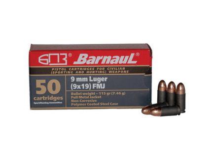 Barnaul Ammunition 115 gr FMJ 9mm Ammo, 50/box - BRN9MMLUGERFMJ115