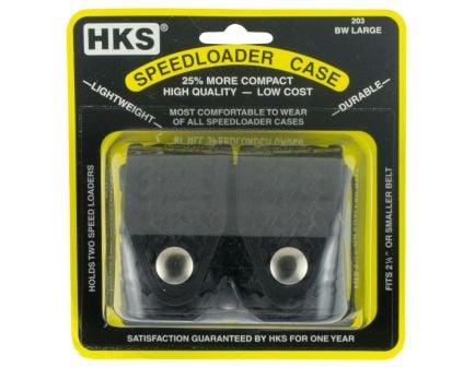 HKS Double Speedloader 38 Special/357 Mag/44 Mag/41 Mag/45 Auto Rim/ 45 Colt Hytrel, Black - 203LBB