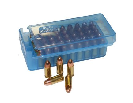 MTM Case Gard P50SS 50 Round Side-Slide Ammo Box, Clear Blue - P50SS4524